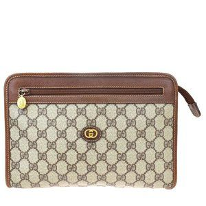 GUCCI GG Pattern Clutch Hand Bag PVC Leather Brow